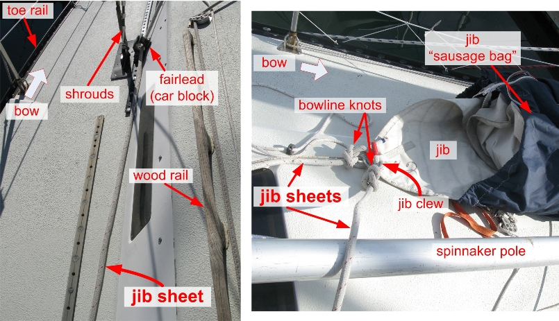jib sheet on deck