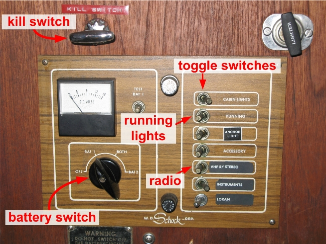 battery switch, kill switch, and running light switch, and radio switch
